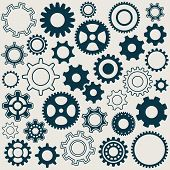 stock photo of gear wheels  - Various gear wheels retro collection vector silhouettes - JPG