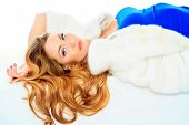 pic of mink  - Stunning young woman posing in fashionable dress and mink fur jacket - JPG