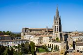 foto of church  - View of the bell tower of the monolithic church in Saint Emilion Bordeaux France - JPG