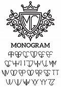 stock photo of monogram  - Vector heraldic template monogram with the bilateral alphabet - JPG