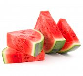 pic of watermelon slices  - Sliced ripe watermelon isolated on white background cutout - JPG