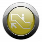 pic of escalator  - Icon Button Pictogram with Escalator Up symbol - JPG