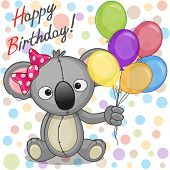 image of koala  - Greeting card Koala with balloons on a dots background - JPG