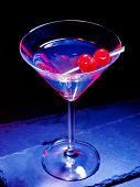 pic of black-cherry  - Transparent two cherry cocktail on black background - JPG