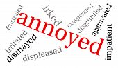 stock photo of annoying  - Annoyed word cloud on a white background - JPG