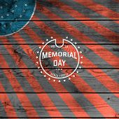 picture of memorial  - Memorial day badges logos and labels for any use against the backdrop the American flag - JPG