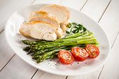 stock photo of roast chicken  - Roast chicken fillets and vegetables  - JPG