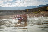 picture of swimming  - An active female is seen swimming across a dam while wearing a pink swimming cap - JPG