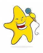 picture of singing  - Vector illustration of a star singing while holding a microphone - JPG