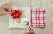image of whip-hand  - Fresh strawberries - JPG