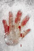 foto of bloody  - An imprint of bloody hand on a white wall - JPG