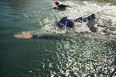 picture of long distance  - Athletes swimming in a competition - JPG