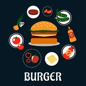 pic of beef-burger  - Tasty burger concept with ingredients including tomato - JPG