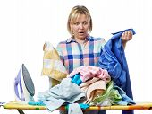 image of homework  - The woman in stress from homework isolated - JPG