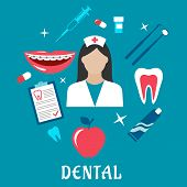 foto of toothpaste  - Dental flat design with a nurse surrounded by an apple - JPG