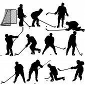 stock photo of hockey arena  - Set of silhouettes of hockey player - JPG