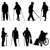 foto of disabled person  - Silhouette of disabled people on a white background - JPG