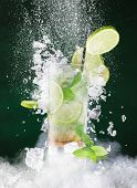 picture of freeze  - fresh mojito drink with liquid splash - JPG