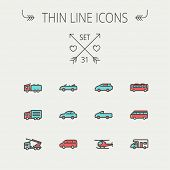 stock photo of lift truck  - Transportation thin line icon set for web and mobile - JPG