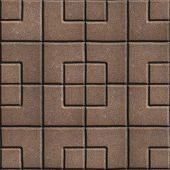 picture of paving  - Concrete Slabs Paving Brown in the Form Square of Different Geometric Shapes - JPG