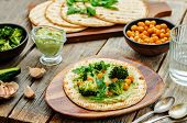 pic of chickpea  - vegan tortilla with roasted broccoli and chickpeas and avocado sauce - JPG