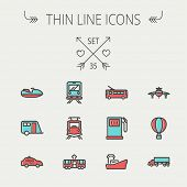 stock photo of transportation icons  - Transportation thin line icon set for web and mobile - JPG
