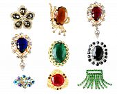 stock photo of vintage jewelry  - collection of vintage brooches isolated on white back - JPG