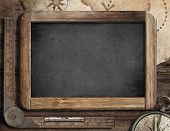 pic of treasure map  - Vintage blackboard with treasure map - JPG