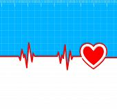 pic of electrocardiogram  - Electrocardiogram with heart silhouette and copy - JPG
