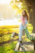 picture of roller-skating  - Young girl on roller skates in the park - JPG