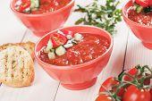 stock photo of vegetable soup  - Gazpacho - JPG