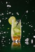 picture of mojito  - Fresh mojito drink with ice cubes and splashes on black background - JPG