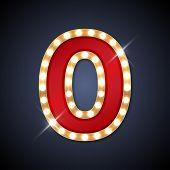 foto of zero  - Vector illustration of realistic retro signboard number 0  - JPG