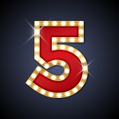 image of 5s  - Vector illustration of realistic retro signboard number 5  - JPG