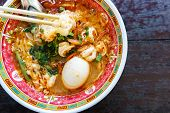 pic of egg noodles  - prawn noodles soup with egg in bowl chinese style - JPG