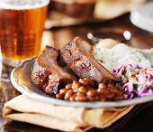 image of ribs  - barbecue rib meal with fixings - JPG