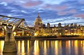pic of london night  - London St Pauls cathedral view over River Thames at night - JPG