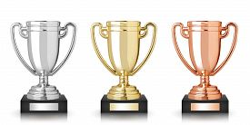pic of trophy  - Golden silver and bronze trophies isolated on white - JPG