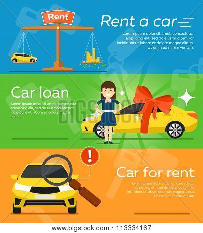 poster of Rent a car banner. Car for rent banner. Business growth. Car loan banner. Rent a car concept. Car hire banner. Rental car. Car leasing. Rent a car infographics. Cars sale. Key car. Car business concept. Rental service.