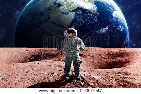 Brave astronaut at the spacewalk