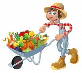 Peasant with wheelbarrow, vegetables and fruits.