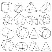 stock photo of cylinder pyramid  - Illustration of geometric figures in three dimensions - JPG