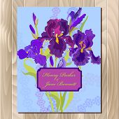 ������, ������: Wedding background card with purple iris flower background Vector illustration