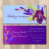 Постер, плакат: Wedding invitation card with purple iris flower background Vector illustration