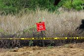 image of landmines  - A sign warning of the danger of uncleared landmines in Jaffna - JPG