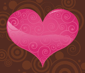stock photo of valentine heart  - a shiny pink valentine heart filled with subtle swirls - JPG