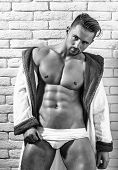 Handsome Muscular Macho In Bathrobe poster