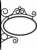 picture of scrollwork  - Hanging Bistro sign decorated with metal scrollwork - JPG