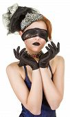 stock photo of vaudeville  - Girl blindfolded and dressed in underwear on white