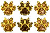 New Year Dog Paw 2018. Set Of Stickers poster